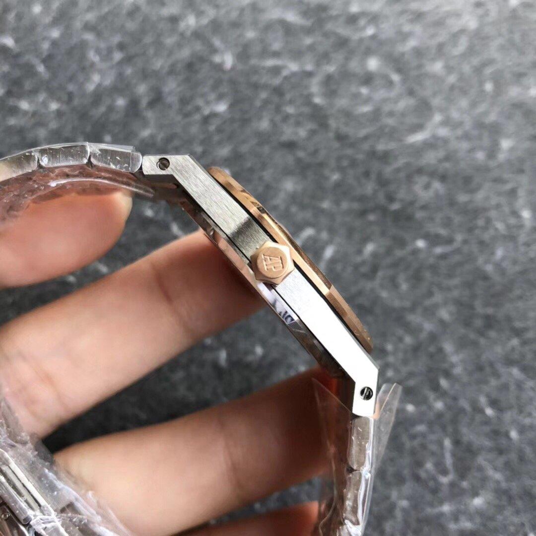 JF爱彼皇家橡树女装石英腕表33直径玫瑰金白盘圈钻