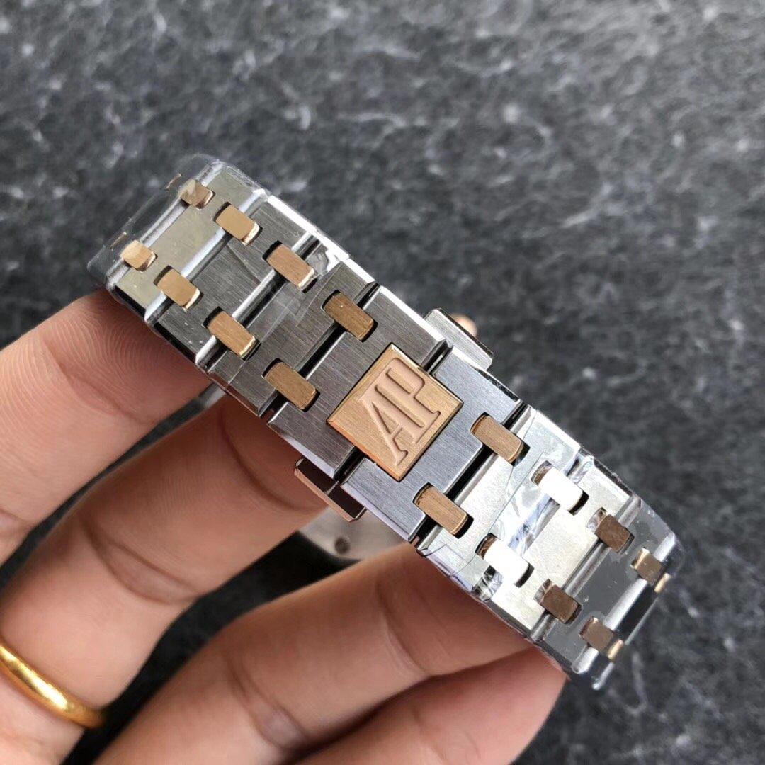 JF厂爱彼皇家橡树女装石英腕表33直径玫瑰金白盘