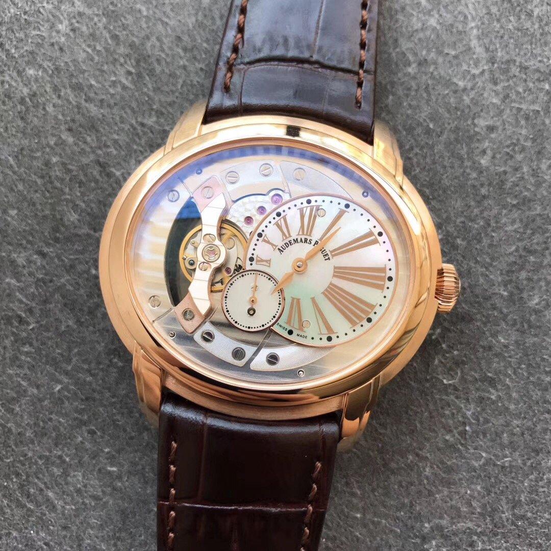 V9爱彼千禧系列15350镂空机械玫瑰金棕色真皮
