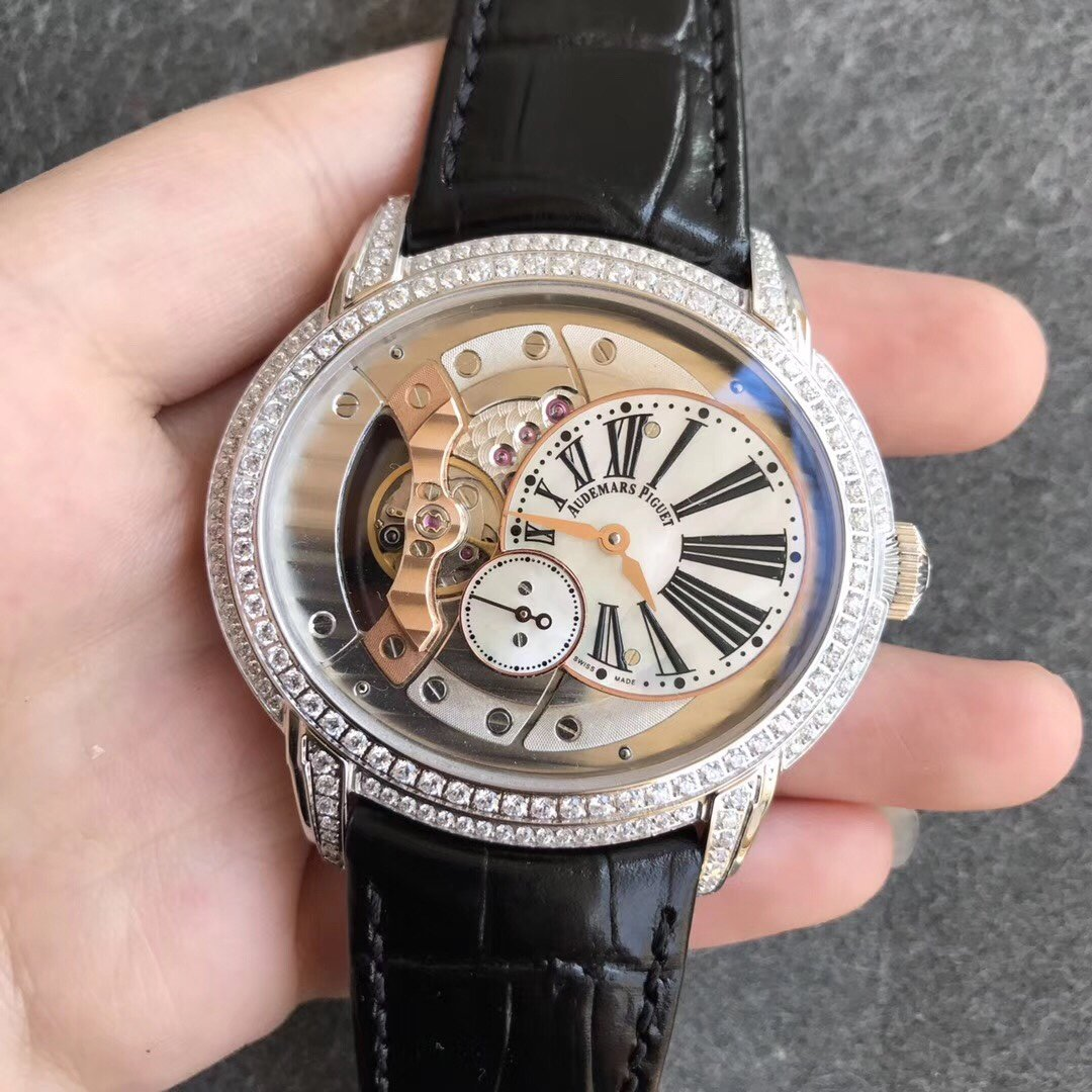 V9爱彼千禧系列15350镂空机械玫瑰金黑色真皮镶钻