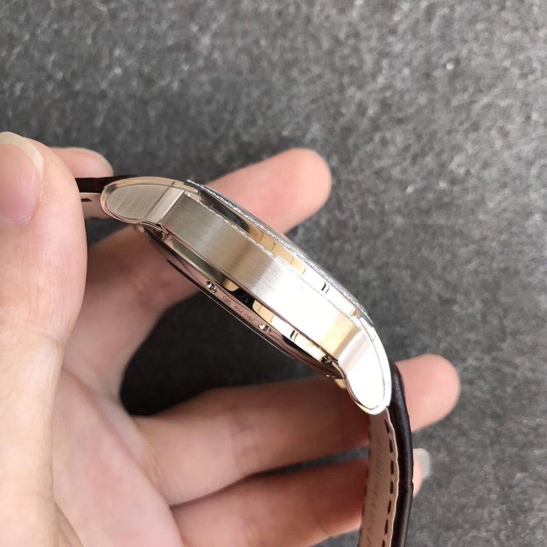 V9爱彼千禧系列15350镂空机械玫瑰金棕色真皮镶钻