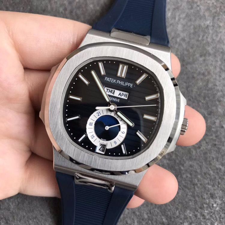 KM百达翡丽鹦鹉螺万年历月相表复刻手表