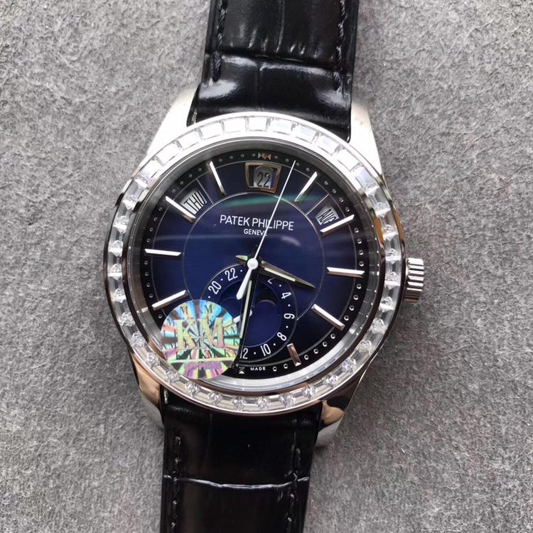 KM百达翡丽复杂功能计时复刻表5205G方钻蓝盘黑皮