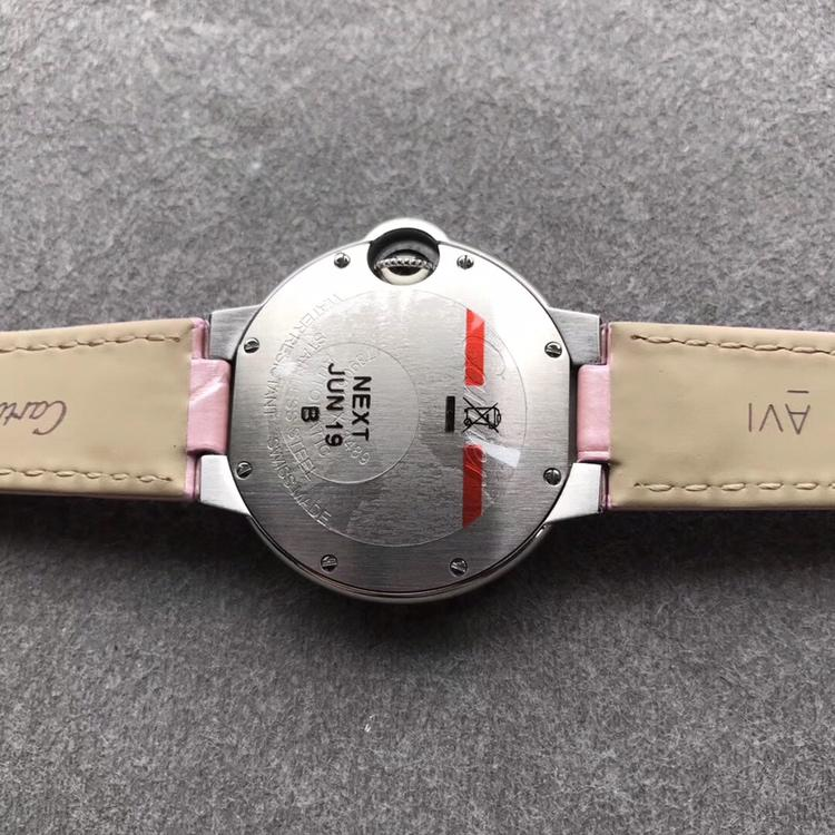 AF卡地亚蓝气球33mm顶级复刻女表机械 多颜色可选 真皮或钢表带可选