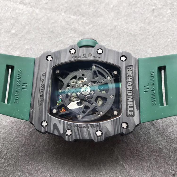 KV理查德米勒RM-035镂空机械绿色硅胶带男款手表
