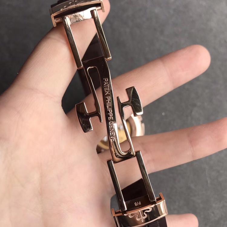 GR厂百达翡丽复杂功能旅行家系列复刻表5164A玫瑰金硅胶