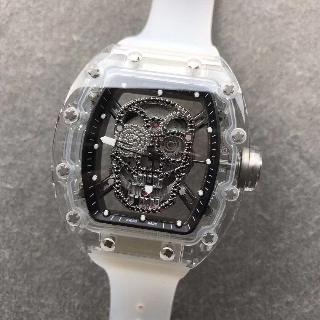 RM052理查徳米勒骷颅头系列透明表盘白色表带男款全自动机械手表