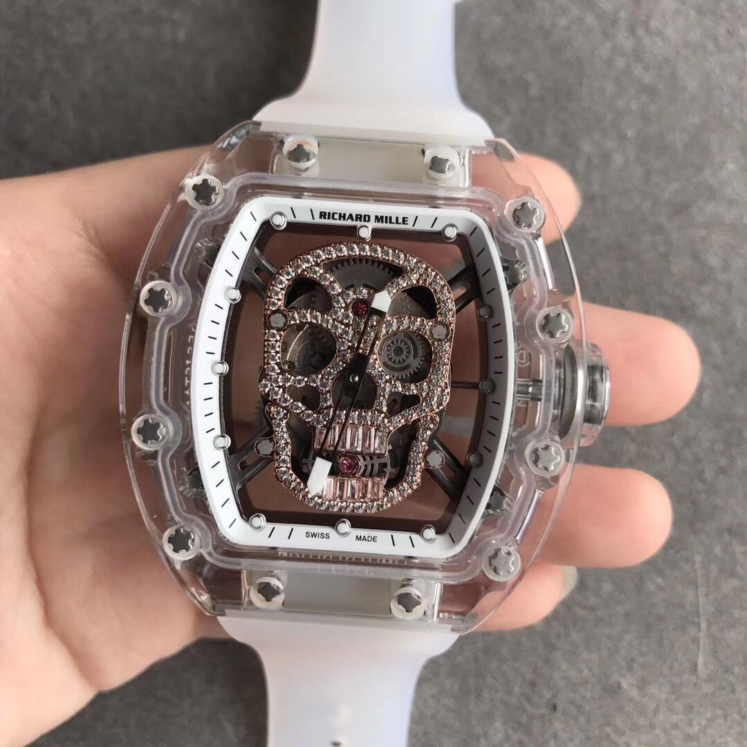 RM052理查徳米勒金骷颅骨系列透明表盘白色表带全自动机械男款手表