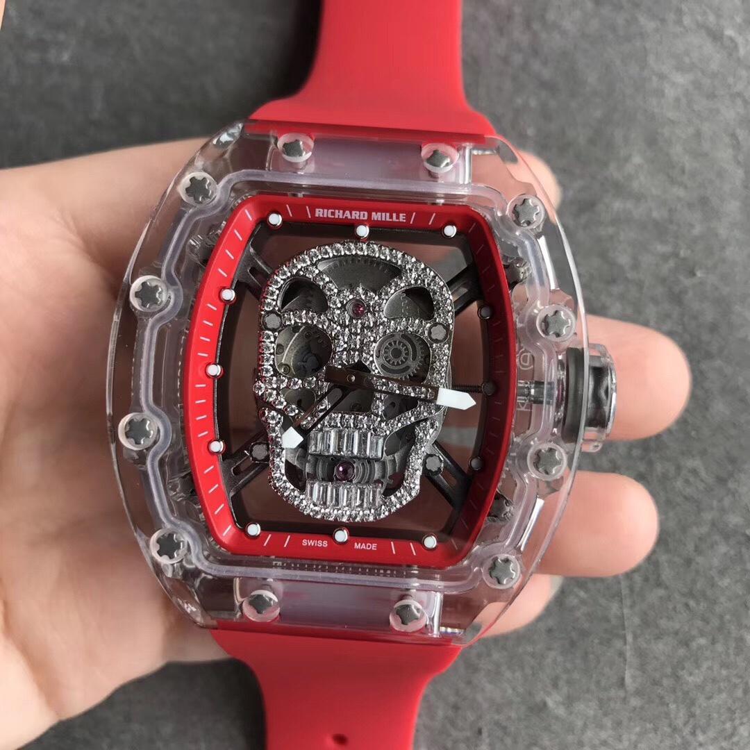 RM052理查徳米勒骷颅头透明表盘红色表带男款手表