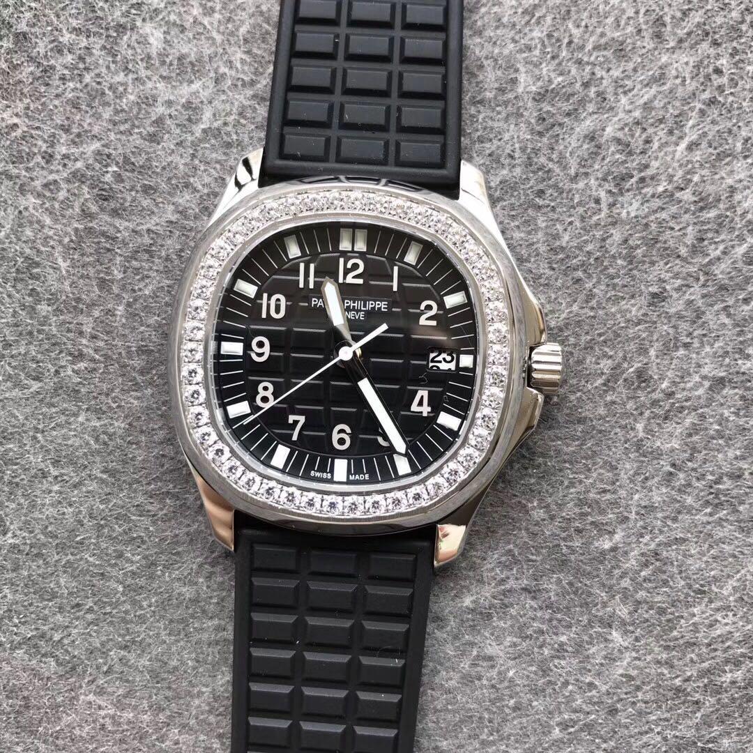 PPF百达翡丽复刻女表机械5067A手雷硅胶表带黑盘镶钻
