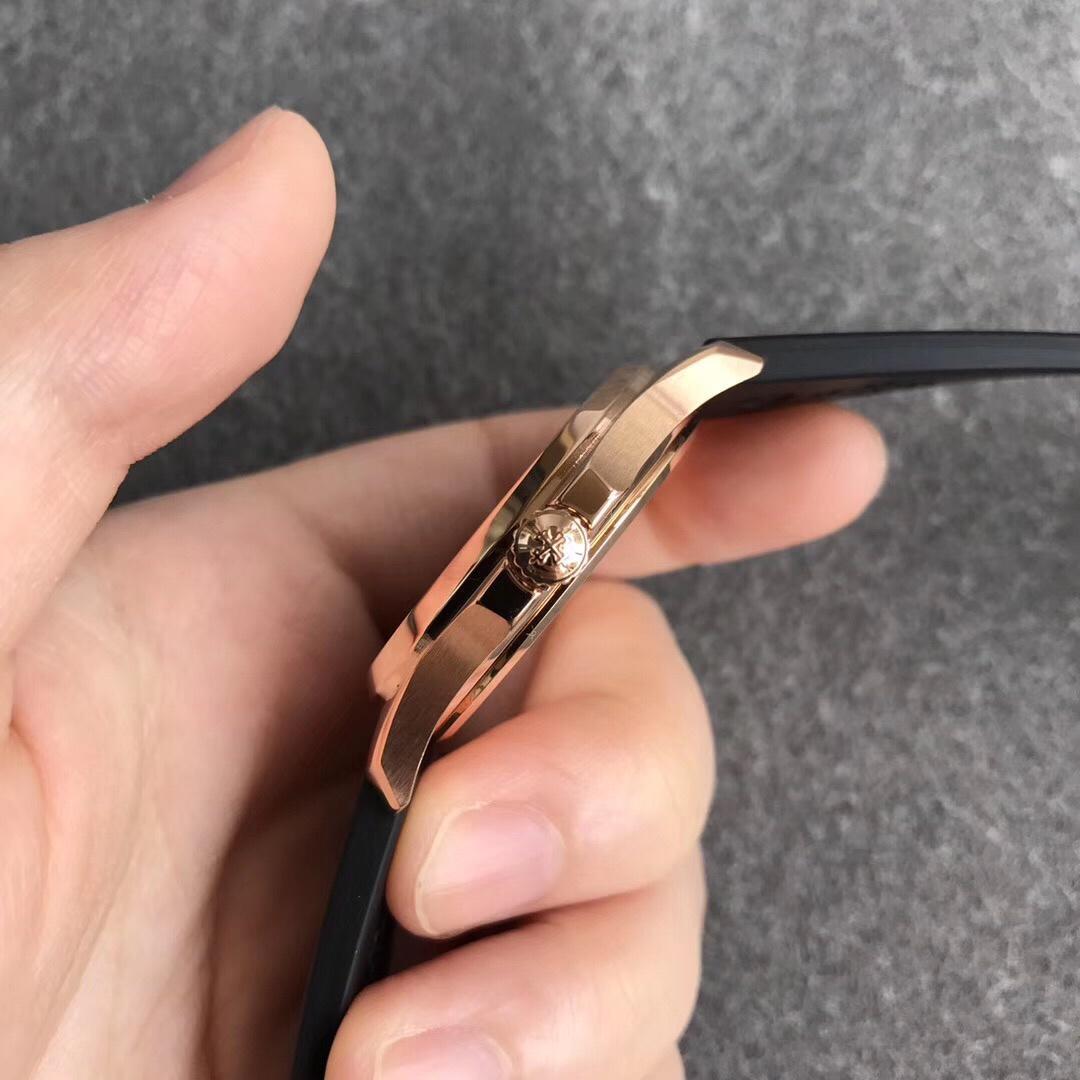 PPF百达翡丽复刻女表机械5067A手雷硅胶表带玫瑰金黑盘