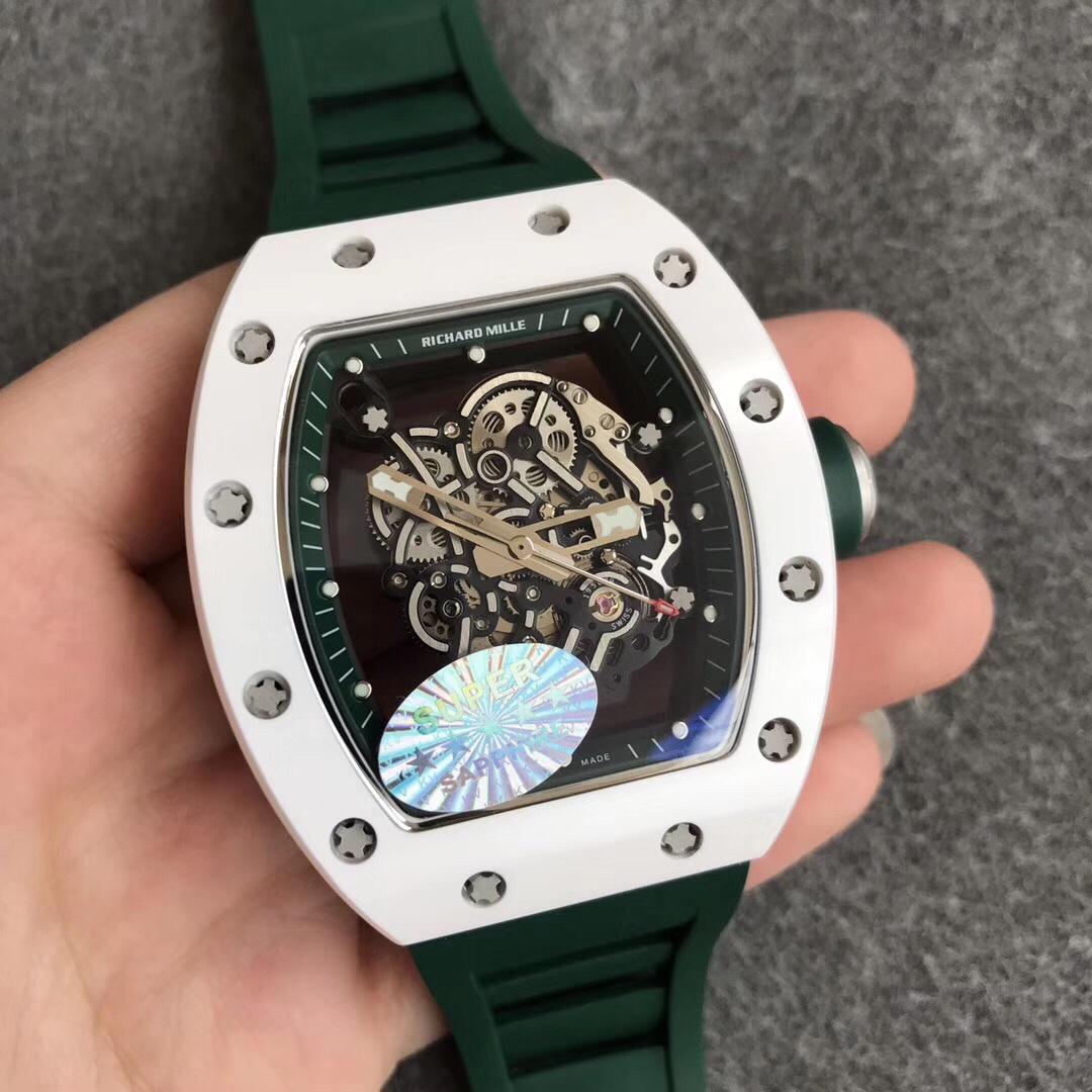 """KV理查德米勒RM055白陶瓷系列""""深邃绿""""绿色硅胶男款手表"""