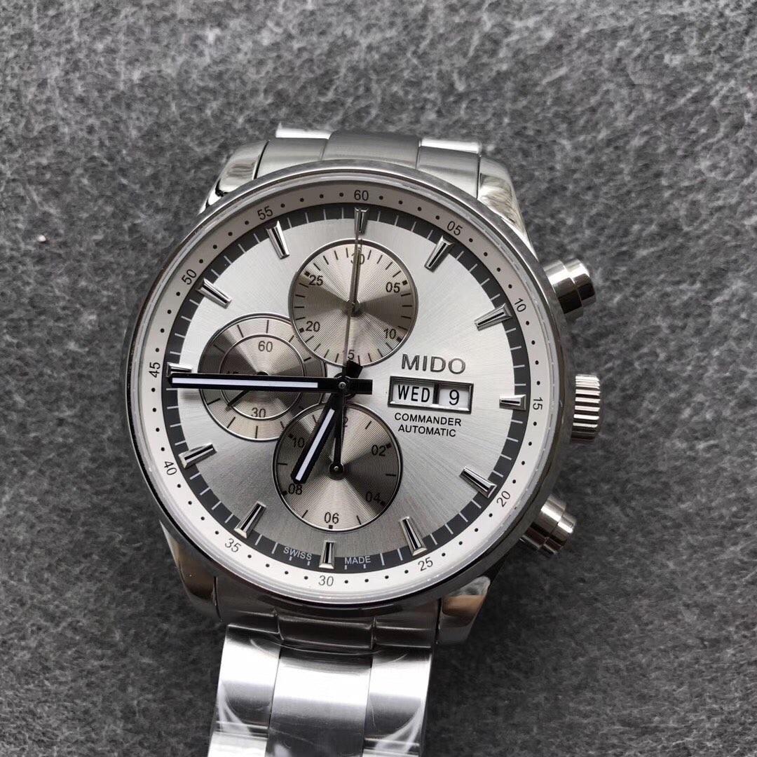 美度指挥官计时系列7750白盘男士手表