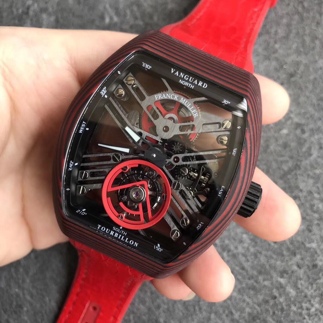FM法兰克穆勒红魔红纹碳纤维陀飞轮红色表带男款手表