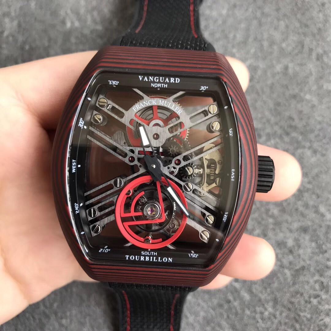 FM法兰克穆勒红魔碳纤维陀飞轮黑色表带