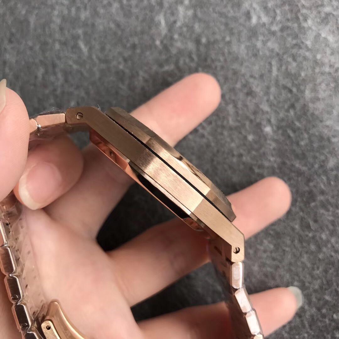 TW厂爱彼皇家橡树系列15410BC霜金腕表 玫瑰金蓝盘男款手表
