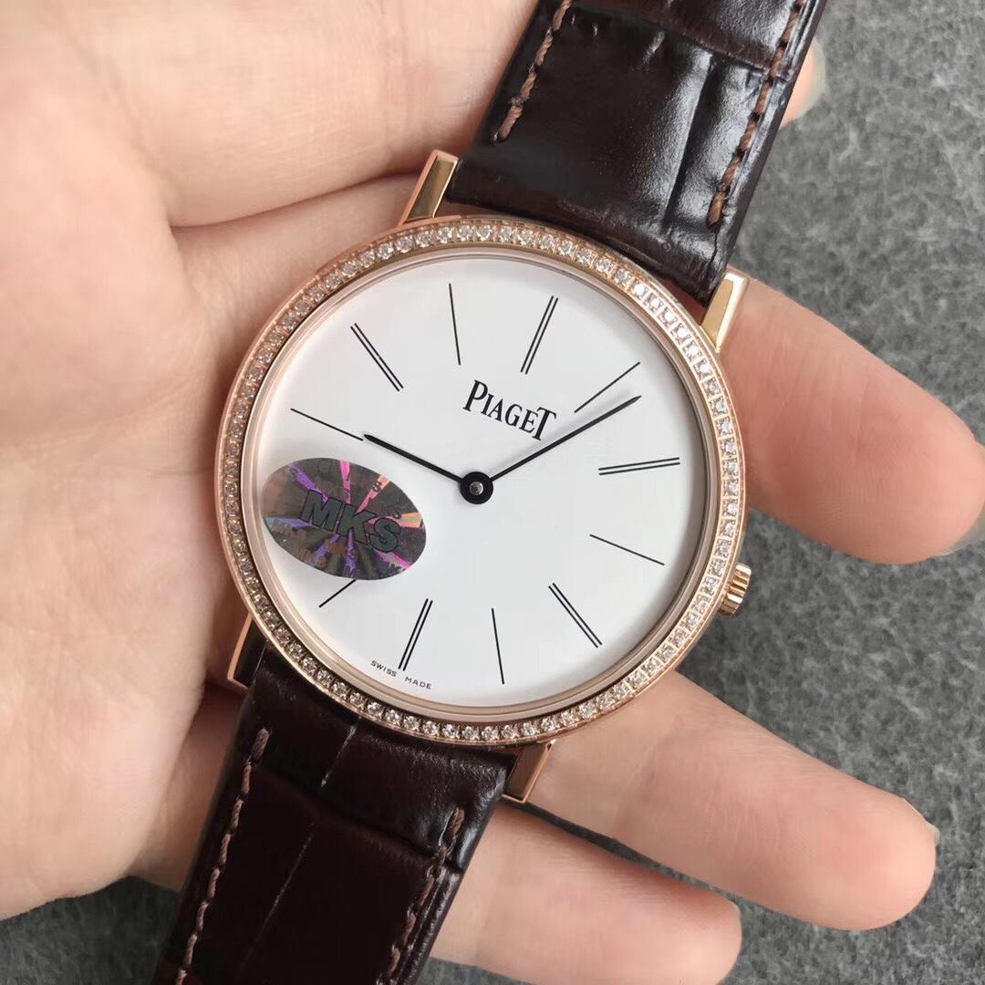 MKS伯爵Altiplano系列经典超薄机械男士简洁手表(玫瑰金白盘)