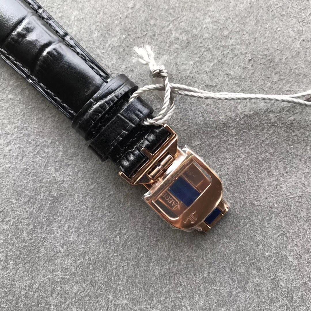 ZF积家超薄大师复刻系列简洁男士黑盘机械皮带手表