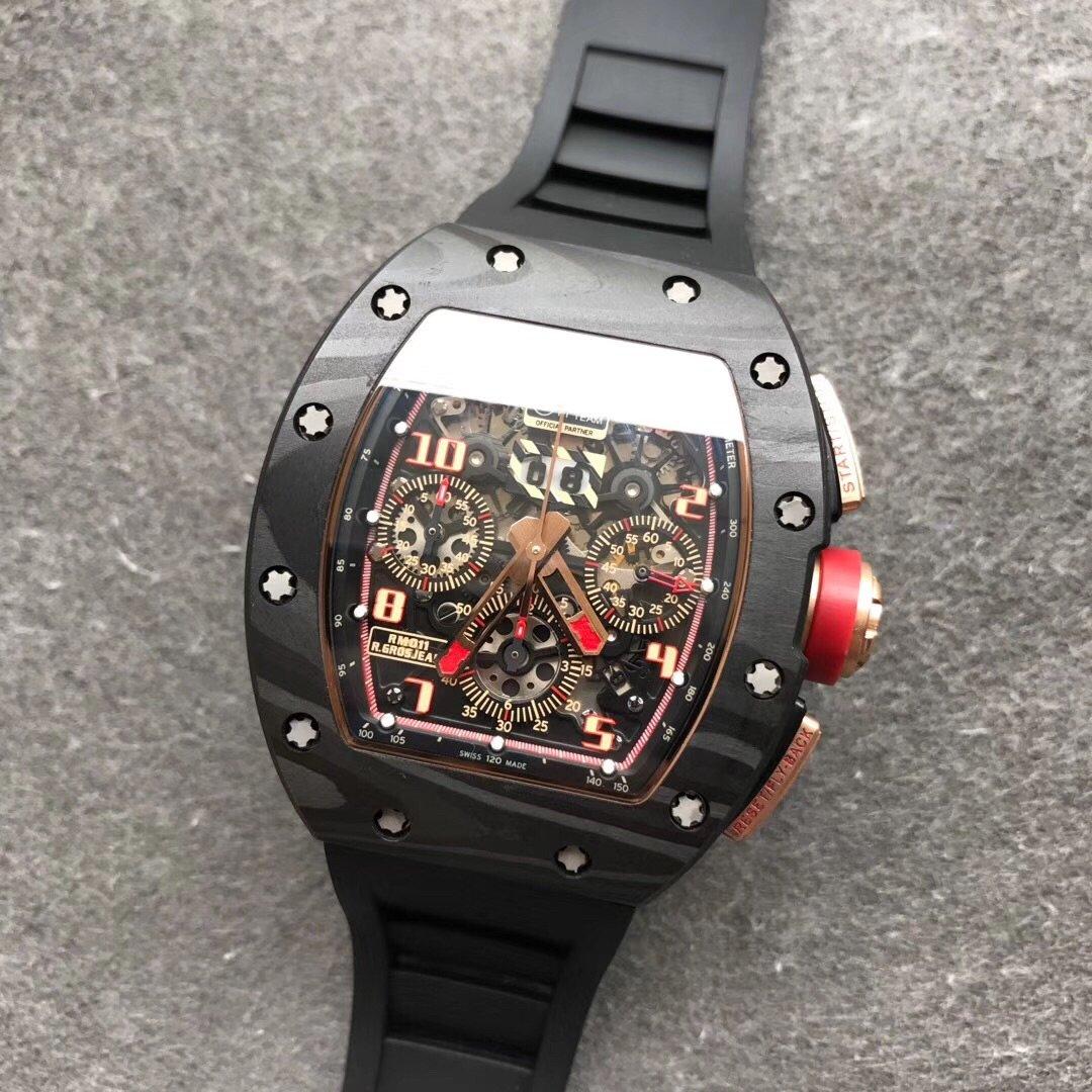 KV理查德米勒RM011碳纤维壳 厚实自动机械男款橡胶带手表