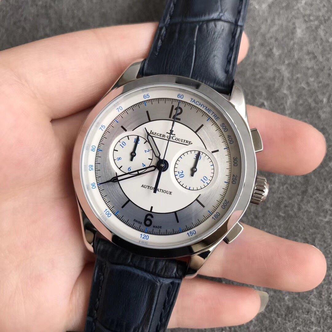 积家计时大师复刻系列巴顿型镂空烤蓝针手表