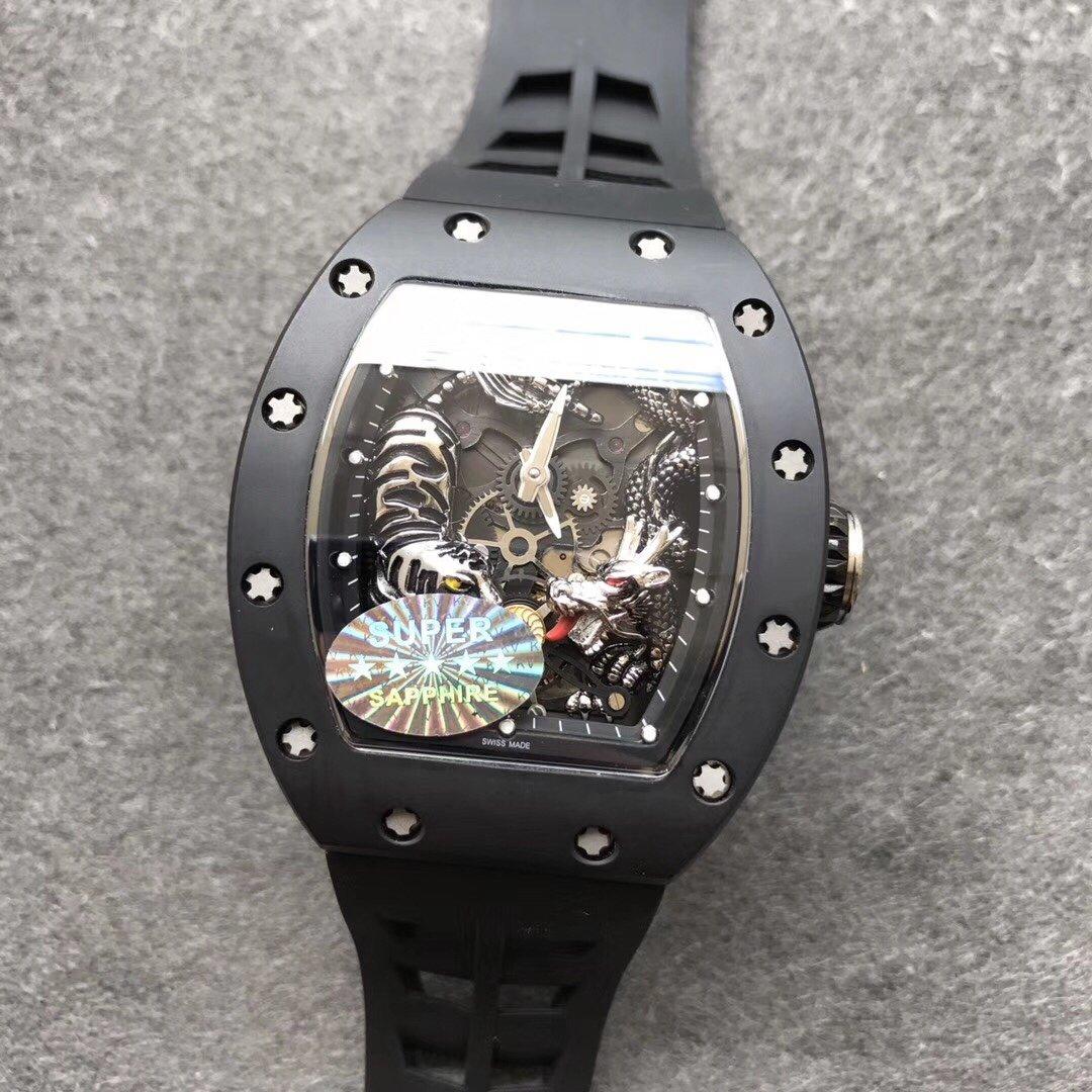 KV厂理查德米勒RM051龙虎雕刻男款橡胶带手表