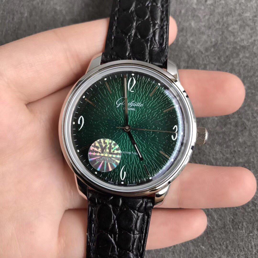 YL厂格拉苏蒂鎏金60年代复古纪念腕表绿面复刻表