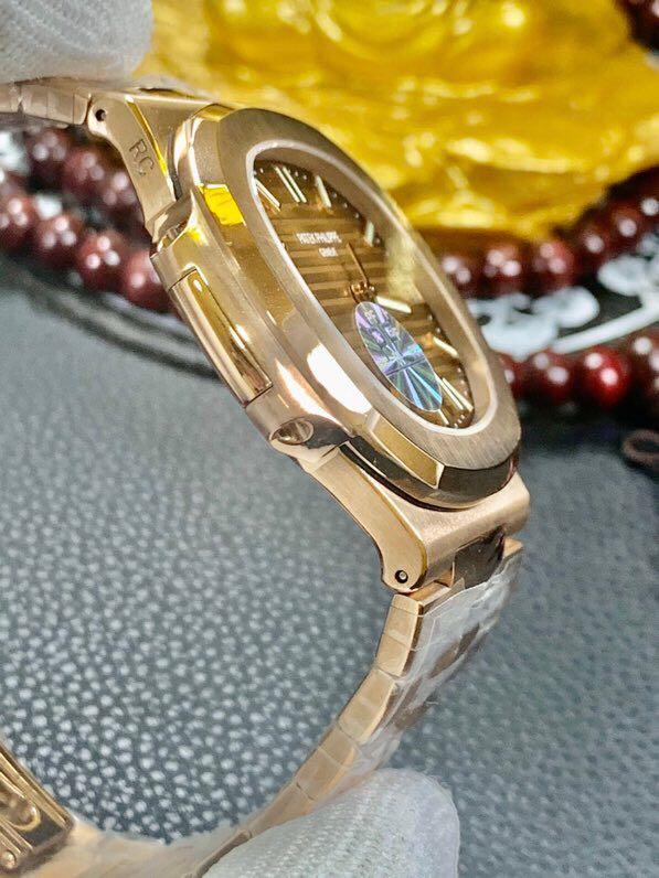 百达翡丽18K金表鹦鹉螺机械复刻表真金不掉色男士腕表带证书