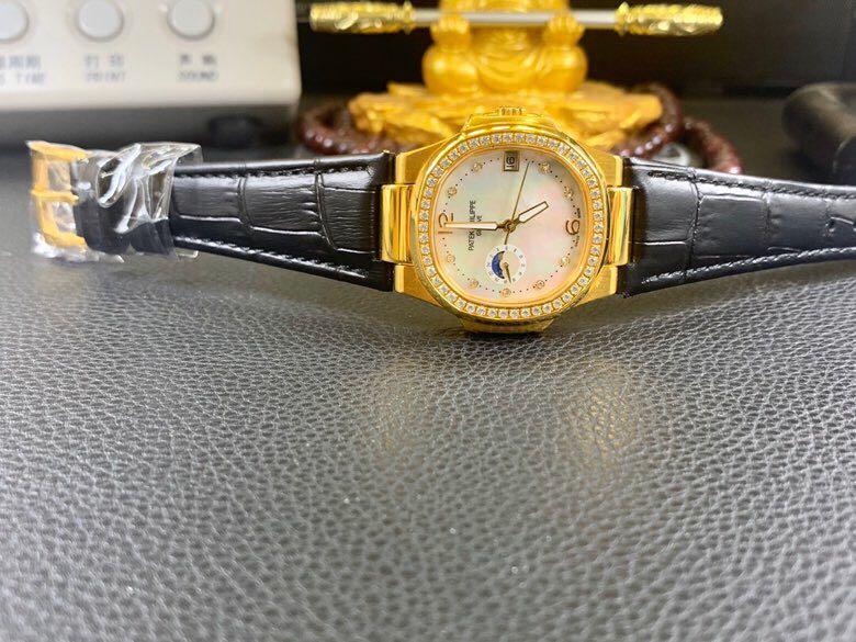 百达翡丽18K金表南非真钻机械复刻表真金不掉色男士腕表带证书