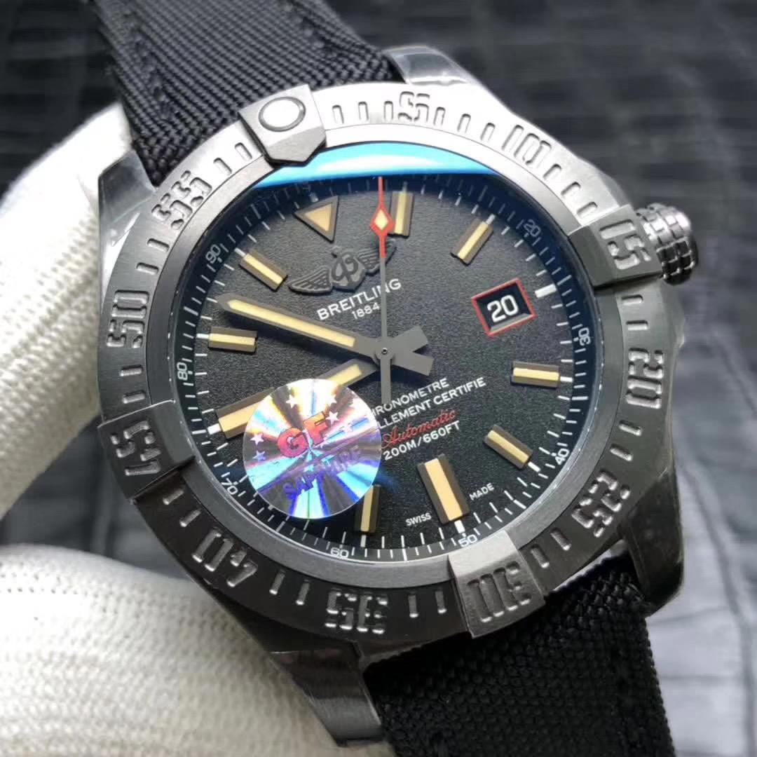 gf百年灵复仇者黑鸟V4终极版男士酷黑运动机械手表
